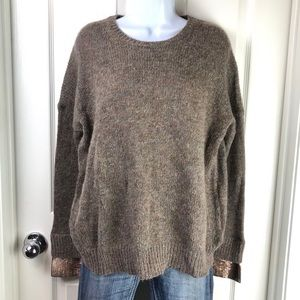 J. Crew Wool Mohair Blend Sequined Cuff Sweater XS